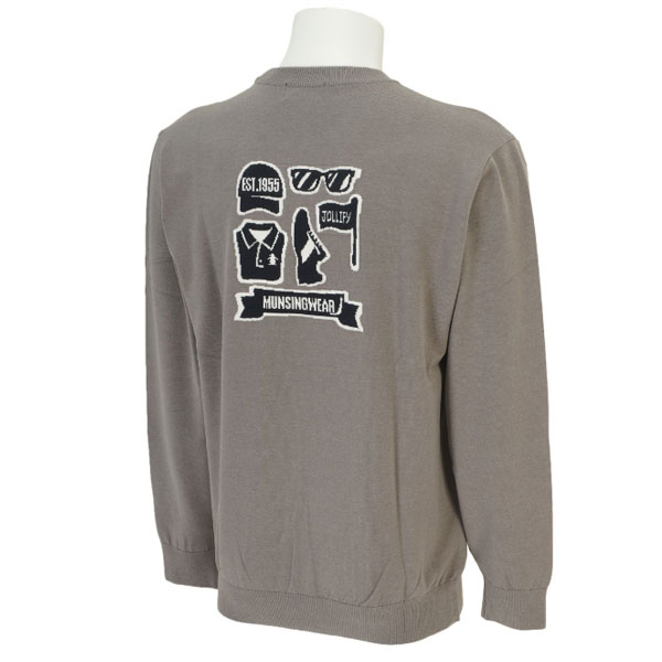 マンシング メンズ ゴルフウェア SG4323 N500 グレー セーター Uネックニット トレーナー 2015FWCZ