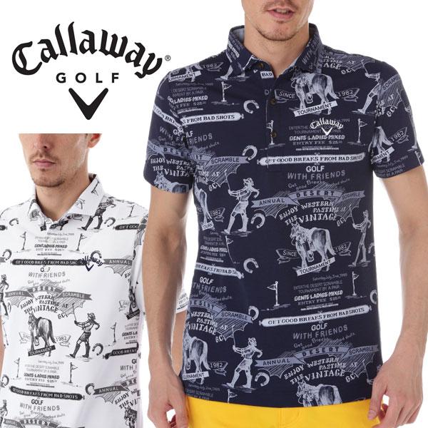 キャロウェイ アパレル ゴルフ スクランブル柄プリント ショートワイド カラー 半袖 ポロシャツ 7157502 CALLAWAY GOLF