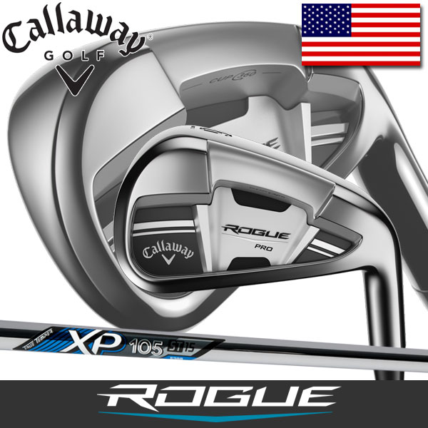 キャロウェイ ゴルフ ローグ プロ アイアン 6本セット (5番~9番、PW) トゥルーテンパー XP 105 ステップレス スチールシャフト / Callaway Rogue True Temper XP105 Stepless Steel