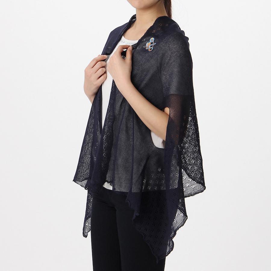 吉田手袋 和モダンな七宝和柄のワンポイント 和風 和装に合うケープ 日本製