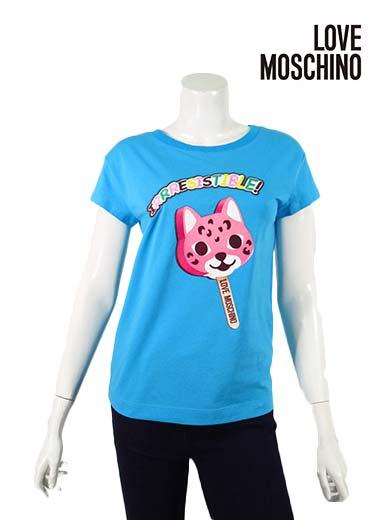 【春夏物】【正規取扱い今季サンプル】【セール】【上代¥28,000の60%OFF】【あす楽】【送料無料】 モスキーノ t シャツ LOVE MOSCHINO 【ラブモスキーノ】【レディース】猫型キャンディープリントコットンTシャツ・カットソー/コバルトブルー【サイズ40】【トルコ製】