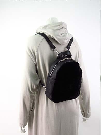 【セール】【送料無料】【上代¥55,000の50%OFF】【あす楽】BLANC VERT【ブランベール】【レディース】ムートンファー×レザーのミニリュック・バックパック・鞄/ブラック【サイズ00】【イタリア製】