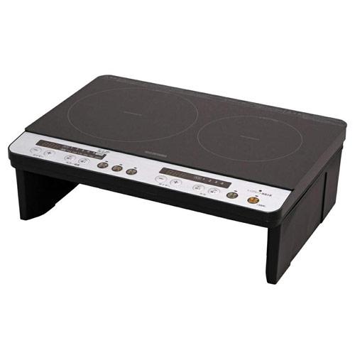 アイリスオーヤマ 2口 IHコンロ (脚付) ブラック IHK-W12S-B IHクッキングヒーター IH調理器 【代引不可】