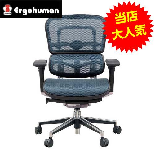 オフィスチェア 「エルゴヒューマンベーシック」ロー・ブルー EH-LAM KM-15BL※代引不可