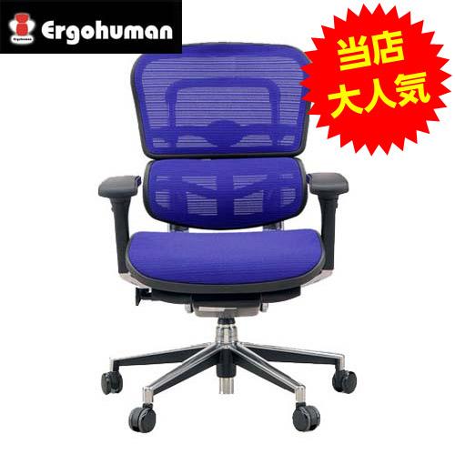 オフィスチェア 「エルゴヒューマンベーシック」ロー・3D ブルー EH-LAM KM-D35BL※代引不可