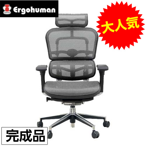 【完成品】オフィスチェア 「エルゴヒューマンベーシック」ハイ・グレー EH-HAM KM-10GY※代引不可