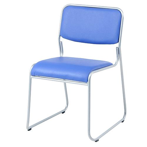 スタッキングミーティングチェア(PVC/エポキシ塗装)ブルー 4脚セット※代引不可