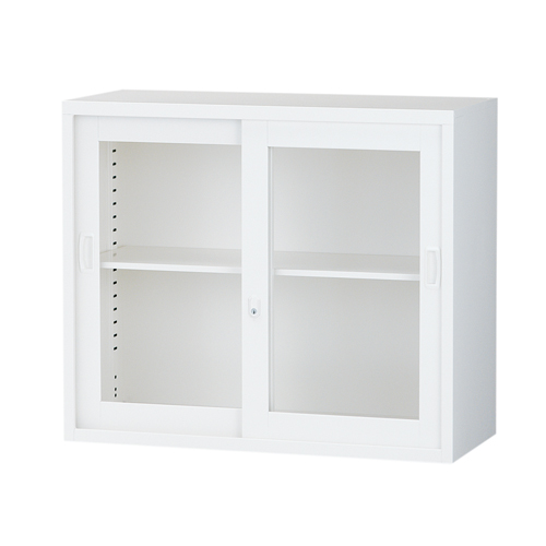 スチール書庫 ガラス引戸書庫 A4対応 ホワイト H750mm ALZ-G32[スチール 上置き 生興 引き戸 書庫 A4 日本製 完成品]【代引不可】