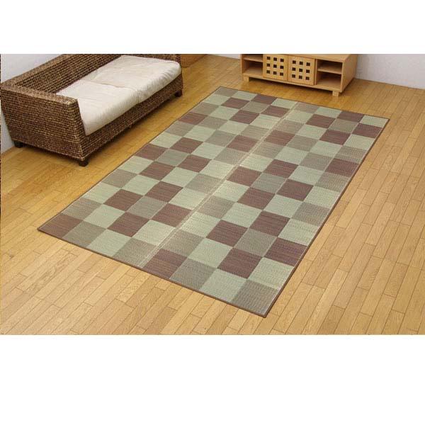 純国産 い草花ござカーペット 『ブロック』 ブラウン 江戸間6畳(約261×352cm)【代引不可】