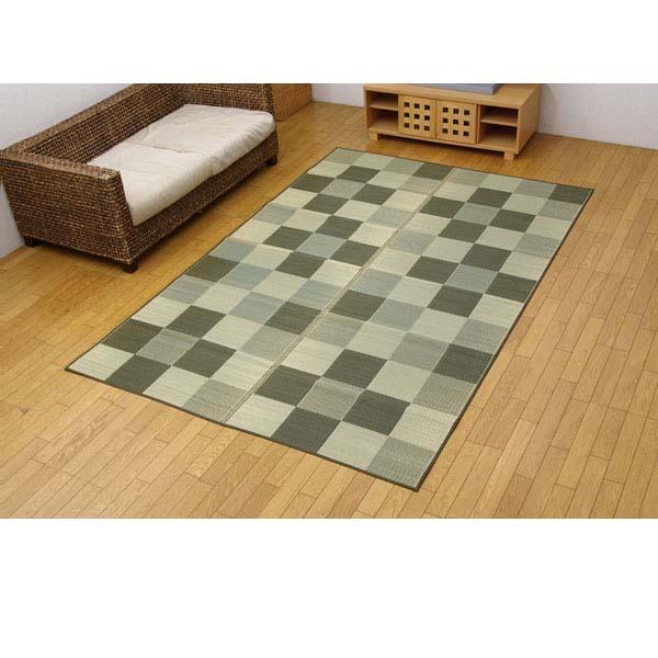 純国産 い草花ござカーペット 『ブロック』 グリーン 江戸間6畳(約261×352cm)【代引不可】