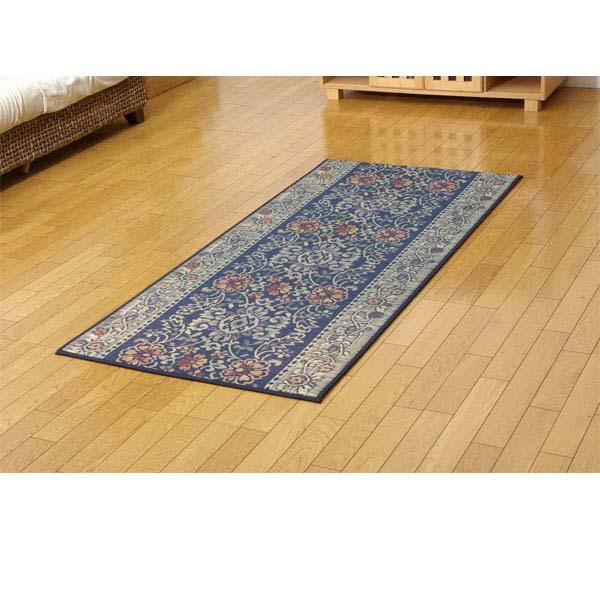 純国産 い草廊下敷き マット 『Fビビアン』 ブルー 約80×180cm(裏:ウレタン)【代引不可】