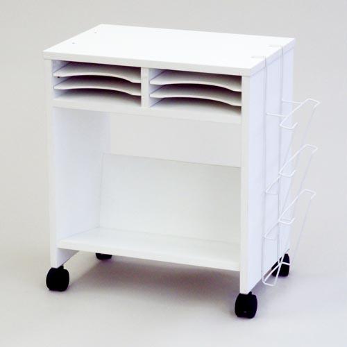 SHTKWG2-WH 木製収納ワゴン ロー 傾斜棚付 【代引不可】
