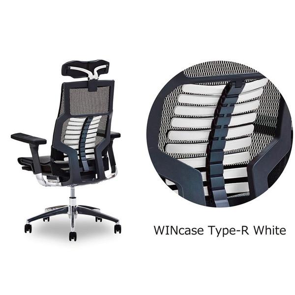 Ergohuma ゲーミングチェア WINcase Type-R ホワイト フォームアシストアーム 収納式オットマン付 【代引不可】