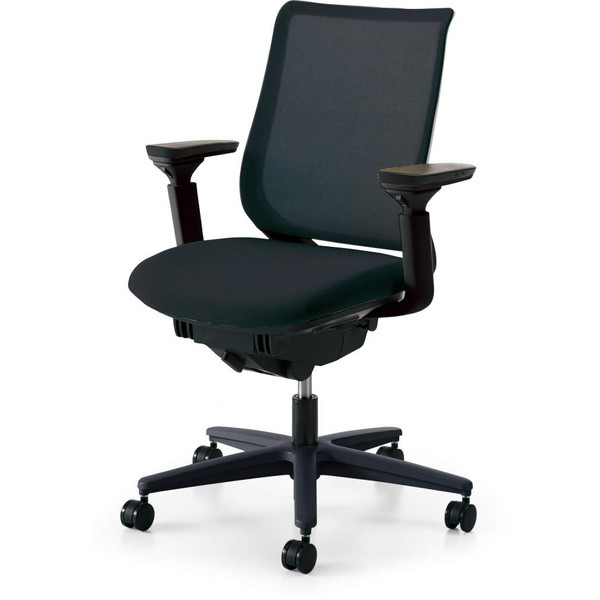 コクヨ(KOKUYO) オフィスチェア Mitra(ミトラ) スタンダードバック ブラックフレーム 樹脂脚(ブラック) メッシュタイプ 可動肘 ブラック CR-G2911E6G9B6-W 【代引不可】