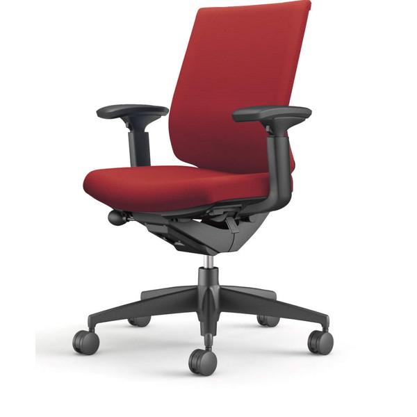 コクヨ(KOKUYO) オフィスチェア Wizard3(ウィザード3) ローバック ブラックシェル 樹脂脚(ブラック) 布張 可動肘 カーマイン CR-G3631F6G4A8-W 【代引不可】