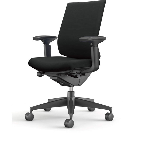 コクヨ(KOKUYO) オフィスチェア Wizard3(ウィザード3) ローバック ブラックシェル 樹脂脚(ブラック) 布張 可動肘 ブラック CR-G3631F6G4B6-W 【代引不可】
