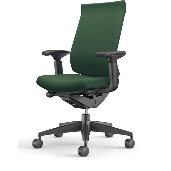 『ポイント5倍』 【受注生産品】コクヨ(KOKUYO) オフィスチェア Wizard3(ウィザード3) ハイバック ブラックシェル 樹脂脚(ブラック) 布張 可動肘 ディープグリーン CR-G3633F6G4Q6-W 【代引不可】