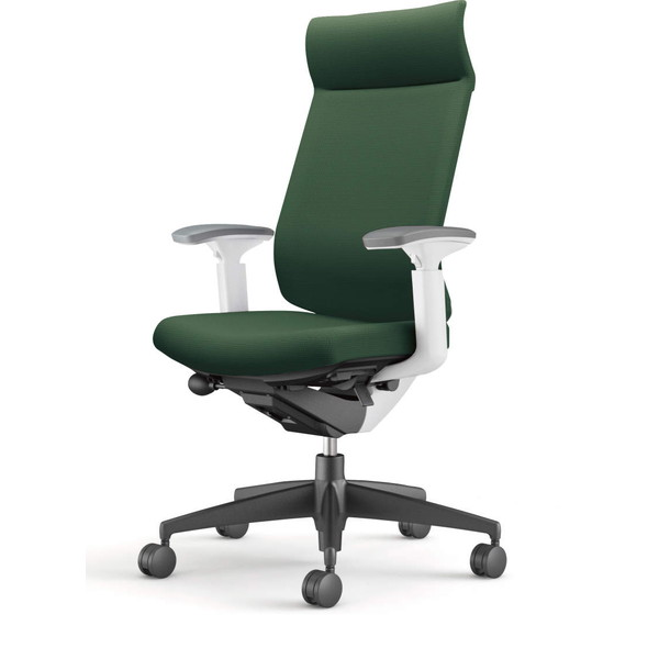 【受注生産品】コクヨ(KOKUYO) オフィスチェア Wizard3(ウィザード3) ミドルマネージメント ホワイトシェル 樹脂脚(ブラック) 布張 可動肘 ディープグリーン CR-G3635E1G4Q6-W 【代引不可】