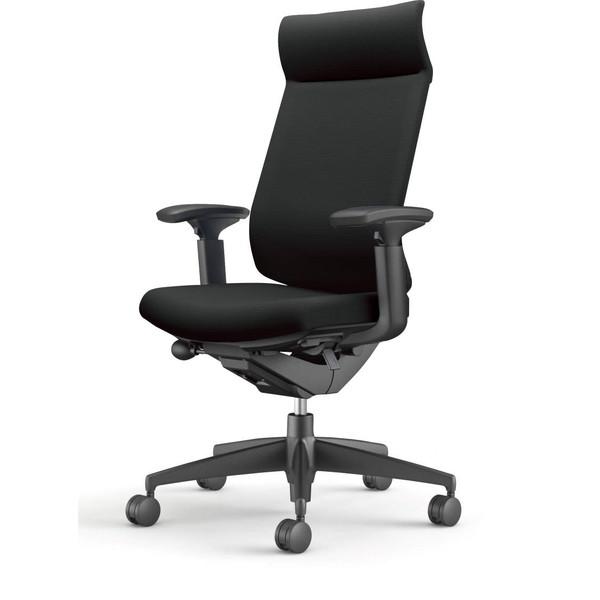 コクヨ(KOKUYO) オフィスチェア Wizard3(ウィザード3) ミドルマネージメント ブラックシェル 樹脂脚(ブラック) 布張 可動肘 ブラック CR-G3635F6G4B6-W 【代引不可】