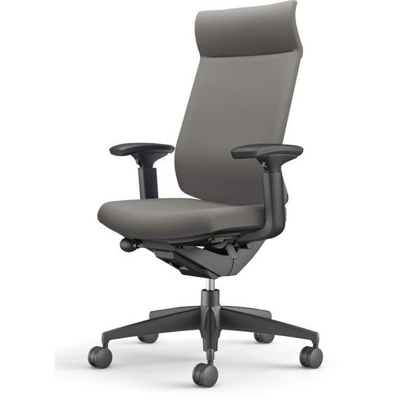 【受注生産品】コクヨ(KOKUYO) オフィスチェア Wizard3(ウィザード3) ミドルマネージメント ブラックシェル 樹脂脚(ブラック) 布張 可動肘 ソフトグレー CR-G3635F6G4E3-W 【代引不可】