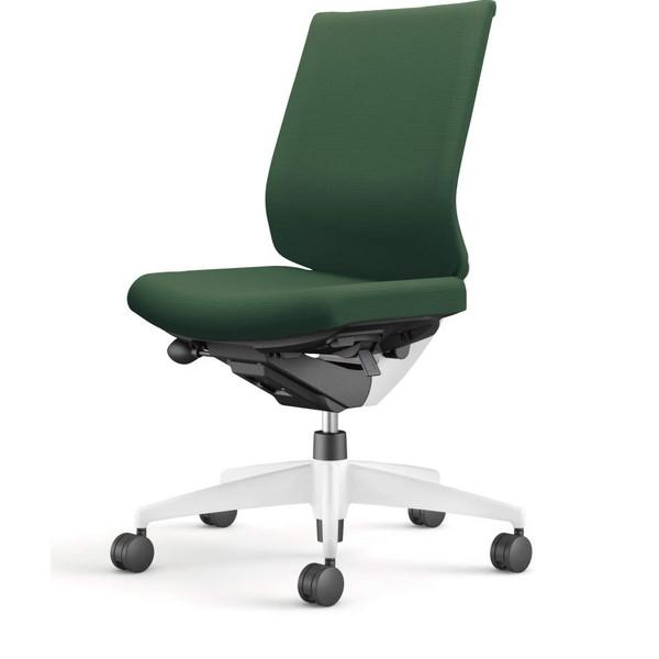 コクヨ(KOKUYO) オフィスチェア Wizard3(ウィザード3) ローバック ホワイトシェル 樹脂脚(ホワイト) 布張 肘なし ディープグリーン CR-W3620E1G4Q6-W 【代引不可】