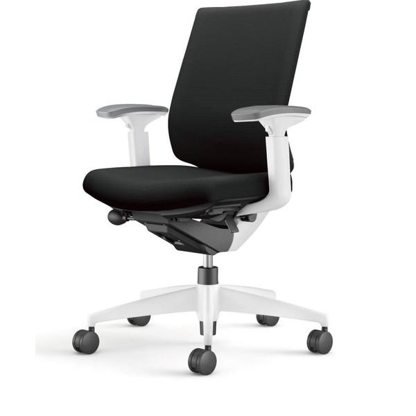 コクヨ(KOKUYO) オフィスチェア Wizard3(ウィザード3) ローバック ホワイトシェル 樹脂脚(ホワイト) 布張 可動肘 ブラック CR-W3631E1G4B6-W 【代引不可】