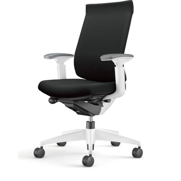 【受注生産品】コクヨ(KOKUYO) オフィスチェア Wizard3(ウィザード3) ハイバック ホワイトシェル 樹脂脚(ホワイト) 布張 可動肘 ブラック CR-W3633E1G4B6-W 【代引不可】