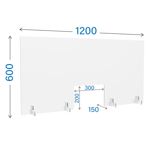 R・Fヤマカワ アクリル衝立 窓付き クリアタイプ W1200×D150×H600mm AP-1260 【代引不可】