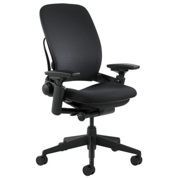 高級素材使用ブランド Steelcase Leap リープ チェア ブラックフレーム 布張り アジャスタブルアーム ブラック K46216179 [ オフィスチェア 椅子 テレワーク スチールケース ] 【】, 五島市 699baf30