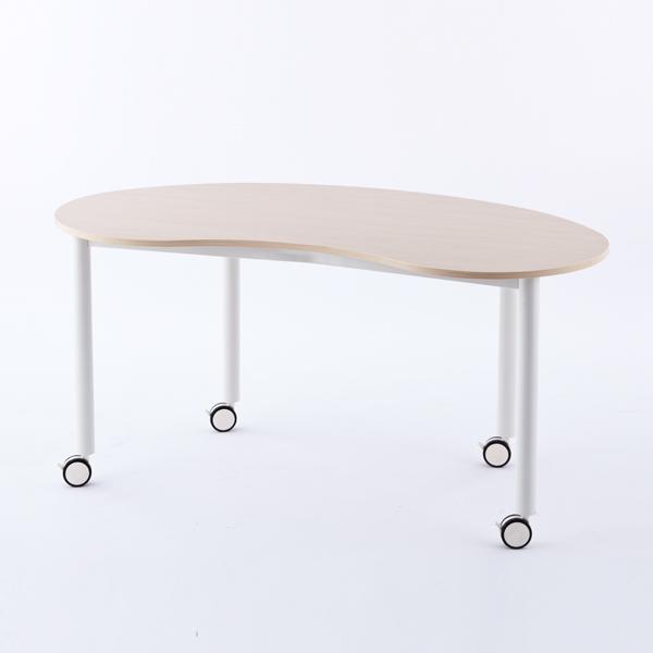 R・Fヤマカワ キャスターテーブル ホワイト脚 豆型 ナチュラル RFCTT-WL1476BNNA 【代引不可】
