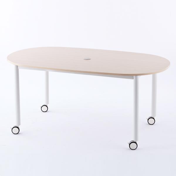 R・Fヤマカワ キャスターテーブル ホワイト脚 オーバル ナチュラル RFCTT-WL1691OVNA 【代引不可】
