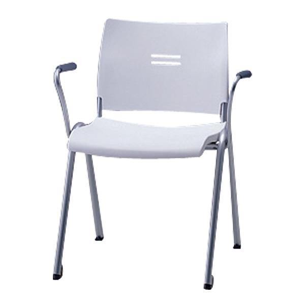 サンケイ ミーティングチェア 会議椅子 4本脚 粉体塗装 肘付 パッドなし CM701-MS 【代引不可】
