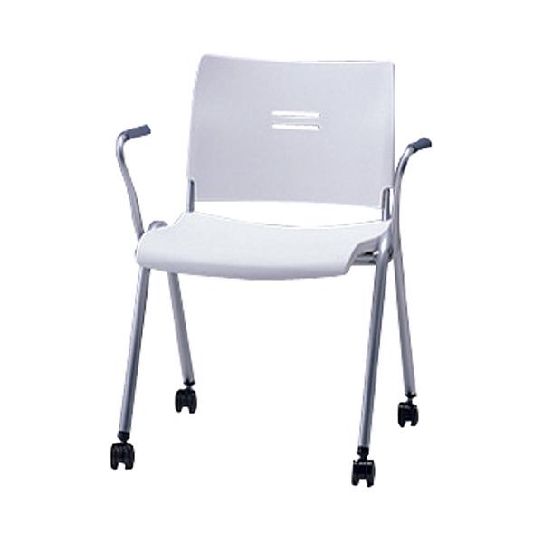 サンケイ ミーティングチェア 会議椅子 4本脚 キャスター付 粉体塗装 肘付 パッドなし CM701-MSC 【代引不可】