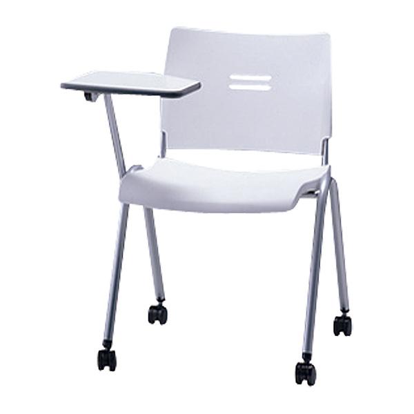 サンケイ ミーティングチェア 会議椅子 4本脚 キャスター付 粉体塗装 肘なし メモ板付 パッドなし CM700-MSMC 【代引不可】