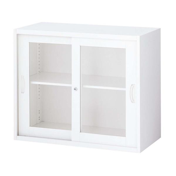 『ポイント5倍』 生興 クウォール システム収納庫 枠付2枚ガラス引戸書庫 W900×D500×H750 RW5-07SG『代引不可』