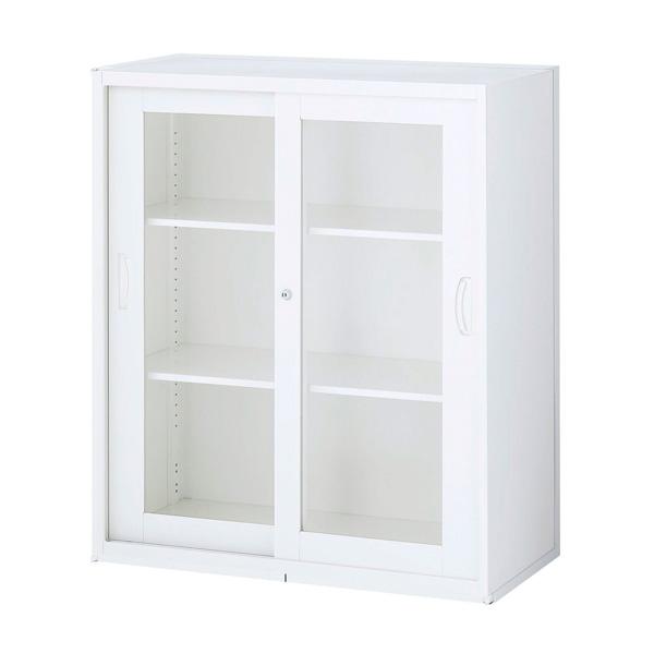 『ポイント5倍』 生興 クウォール システム収納庫 枠付2枚ガラス引戸書庫 W900×D500×H1050 RW5-10SG『代引不可』