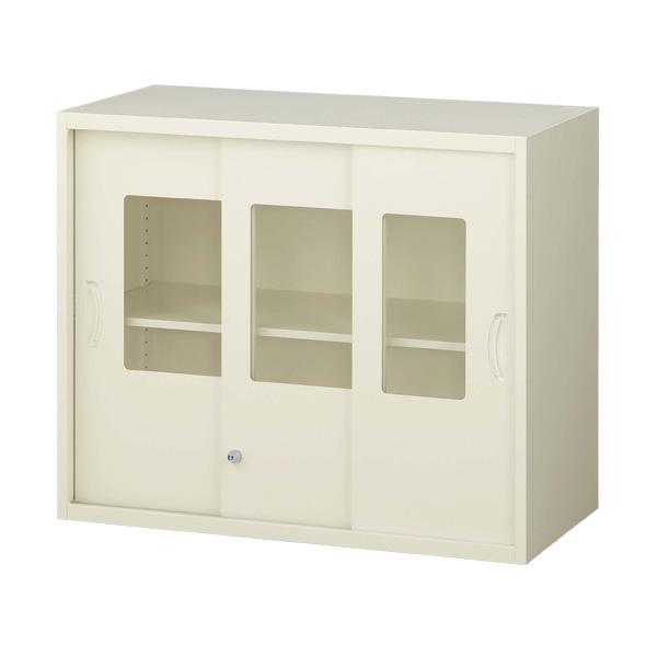 生興 クウォール システム収納庫 枠付ガラス3枚引戸書庫 上置専用 W900×D450×H750 RG45-307SG『代引不可』