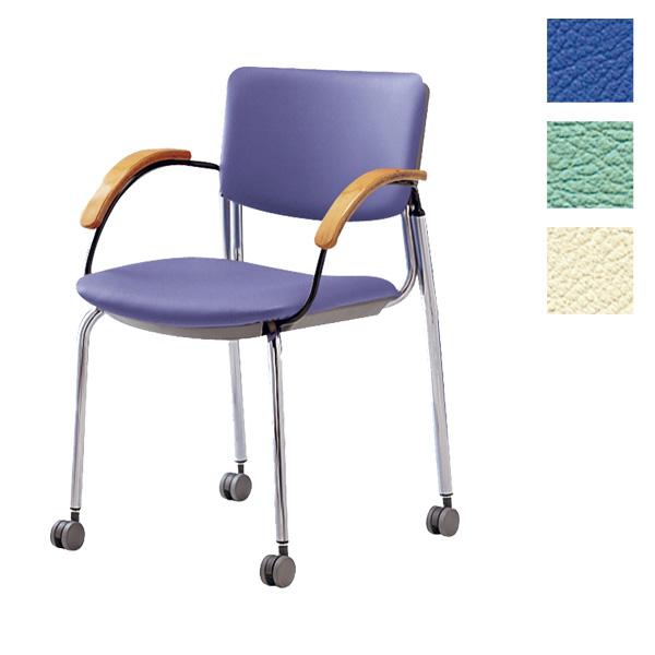 サンケイ ミーティングチェア 会議椅子 4本脚 キャスター付 クロームメッキ 肘付 ビニールレザー張り CM351-CXC【代引不可】