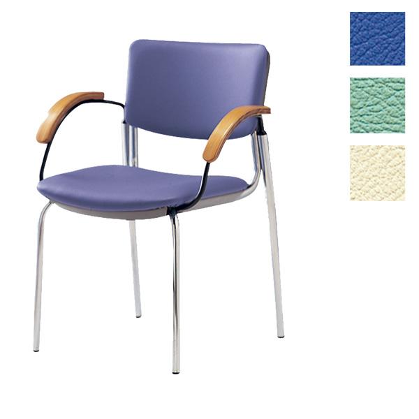 サンケイ ミーティングチェア 会議椅子 4本脚 クロームメッキ 肘付 ビニールレザー張り CM351-CX【代引不可】