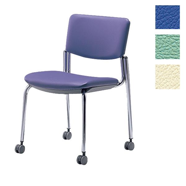 サンケイ ミーティングチェア 会議椅子 4本脚 キャスター付 クロームメッキ 肘なし ビニールレザー張り CM350-CXC【代引不可】