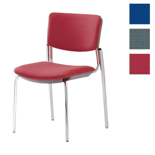 サンケイ ミーティングチェア 会議椅子 4本脚 クロームメッキ 肘なし 布張り CM350-CY【代引不可】