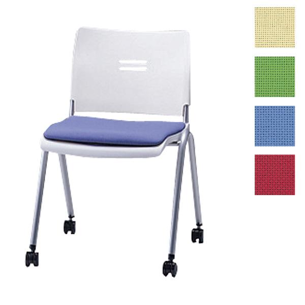 サンケイ ミーティングチェア 会議椅子 4本脚 キャスター付 粉体塗装 肘なし 布張り CM710-MYC【代引不可】