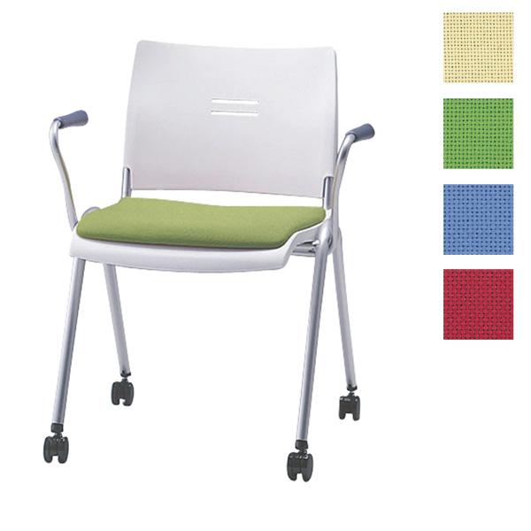 サンケイ ミーティングチェア 会議椅子 4本脚 キャスター付 粉体塗装 肘付 布張り CM711-MYC【代引不可】