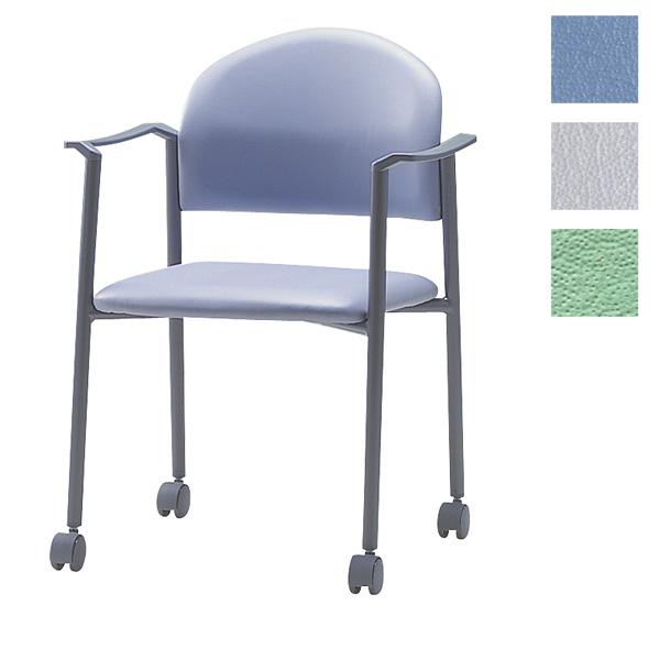 サンケイ ミーティングチェア 会議椅子 4本脚 キャスター付 粉体塗装 肘付 ビニールレザー張り CM219-MXC【代引不可】