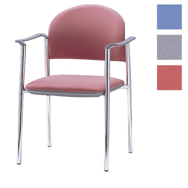 サンケイ ミーティングチェア 会議椅子 4本脚 クロームメッキ 肘付 布張り CM211-CY【代引不可】