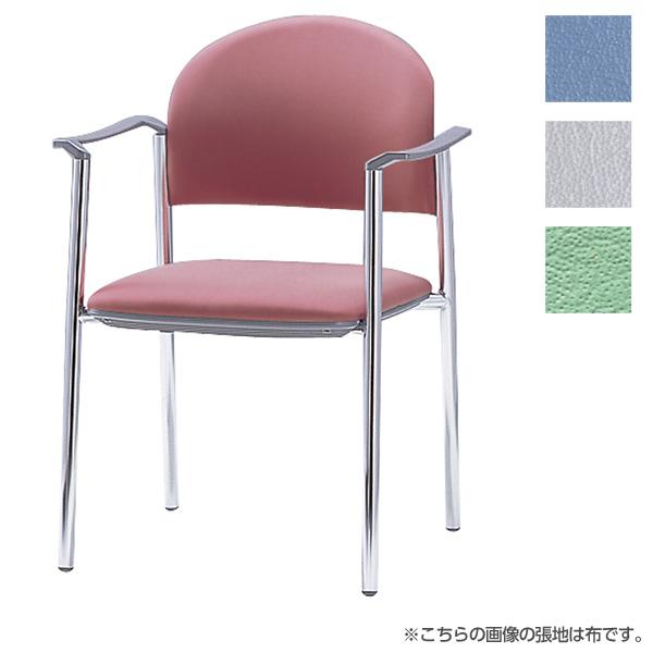 サンケイ ミーティングチェア 会議椅子 4本脚 クロームメッキ 肘付 ビニールレザー張り CM211-CX【代引不可】