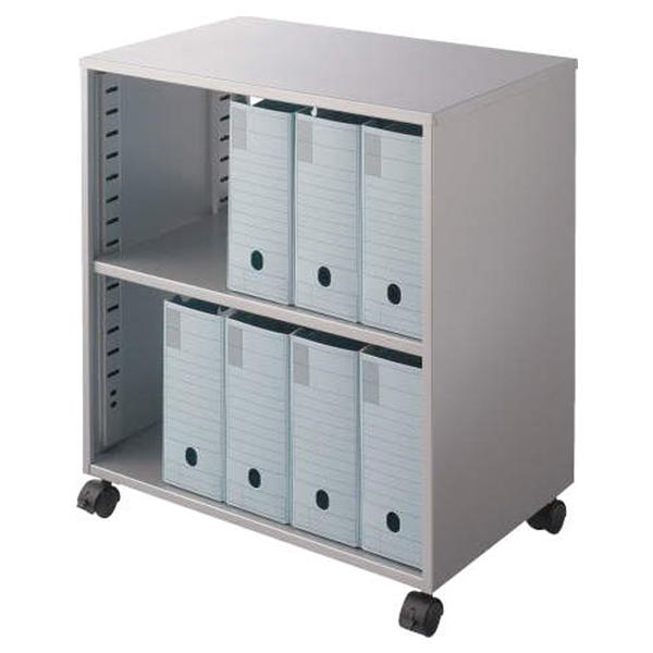 ライオン事務器 ボックスファイルワゴン CPUワゴン カロティア W559×D342×H620mm シルバーメタリック CO-BOX1 400-52【代引不可】