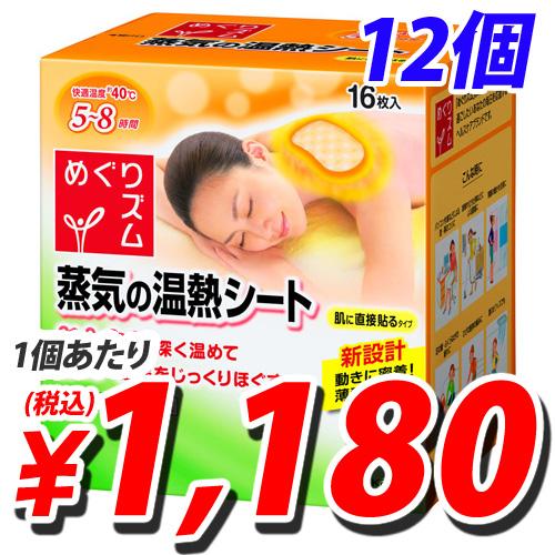 花王 めぐりズム 蒸気の温熱シート 肌に直接貼るタイプ 16枚×12個