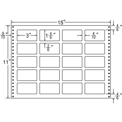 ラベルシール LB15H タックシール (連続ラベル) 耐熱タイプ 500折【代引不可】