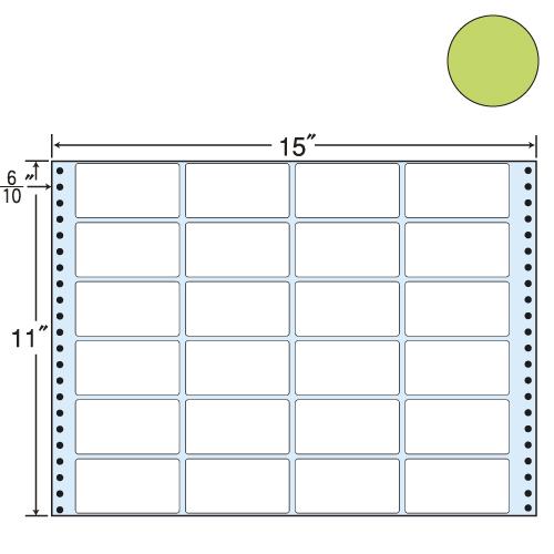 ラベルシール 東洋印刷 MT15TG タックシール (連続ラベル) カラータイプグリーン 500折【代引不可】
